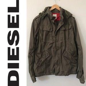 DIESEL Men's Green Military Style Hooded Jacket XL